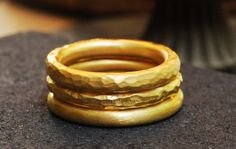 Hammered Three Golden Stacking Rings , Rustic Stackable Band Jewelry , Unisex Gift