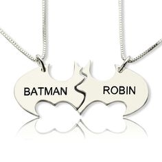 Engraved Name Batman Necklace - Discover More Friendship Necklace at Getnamenecklace.com