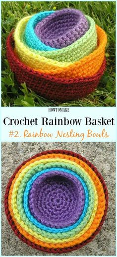 Rainbow Crocheted Nesting Bowls Free Crochet Pattern - #Crochet Rainbow #Basket Free Patterns