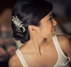 Swarovski crystal and rhinestone hair comb by One World Designs Bridal Accessories. Photo by Ricky Wong - hair by Jira at Wowpretty.