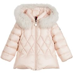 Moncler Baby Girls Pink Down Padded Coat with Fur Trim at Childrensalon.com