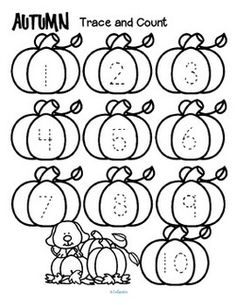 Fall theme tracing and counting printables. Count the sets, recognize and trace the numbers, add extra details and color.