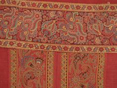 Antique French Curtain Provence Turkey Red w Printed Border C1815 eBay
