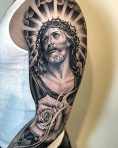 Jesus Tattoos - Tons of Jesus Tattoo Designs & Ideas - Tattoo Me Now Jesus Tattoo Sleeve, Arm Sleeve Tattoos, Tattoo Sleeve Designs, Arm Tattoo, Jesus Tatoo, Dope Tattoos, Body Art Tattoos, Tattoos For Guys, Catholic Tattoos