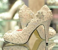 Wholesale Wedding Shoes - Buy 2013 Summer Women's Pumps Bride Handmade Glitter Dress Shoes Lace Rhinestone High Heels Wedding Shoes Plus Size31-43, $136.36 | DHgate