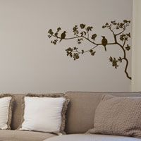 Five Birds Sitting in a Cherry Blossom Tree - Wall Decals