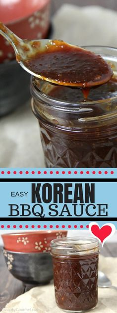 Korean BBQ Sauce an easy homemade sauce dipping sauce or marinade for a wide range of things like beef chicken pork or vegetables. You can also use this sweet and spicy sauce for wings tacos ribs sandwiches and more! Korean Bbq Marinade, Asian Bbq Sauce, Korean Bbq Beef, Korean Bulgogi Sauce Recipe, Spicy Korean Bbq Sauce Recipe, Korean Bbq Wings Recipe, Recipe For Bbq Sauce, Korean Bbq Dipping Sauce, Korean Bbq Tacos