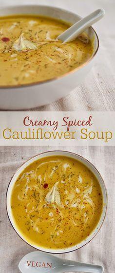 Cauliflower soup. It's Soup Season. Clean Eating. Vegan Soup