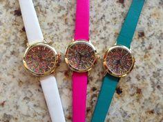 Pretty blooming glittery watches from www.hellomissapple.com. Love it!