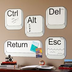 computer wall decals - I would put the Esc on the door; the Del over the trash can, the Ctrl over the box where I keep the remote controls or by the thermostat, etc. Now that I think about it, these would be GREAT in a school library! Computer Lab Decor, Computer Lab Lessons, Computer Teacher, Technology Lessons, Computer Class, Teaching Technology, Computer Technology, Educational Technology, Computer Science