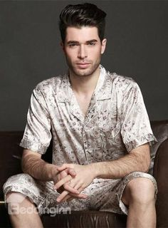 Amazing Silky Single-Breasted Short Sleeves Men Mens Sleepwear c4fe061d5