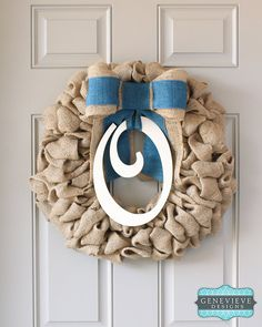 Hanukkah wreath monogram blue bow baby by for Baby shower front door decoration ideas