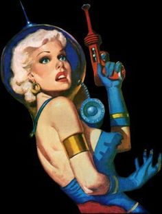 space vixen, Spaceship, spacesuit raygun astronaut pulp retro futurism back to the future tomorrow tomorrowland space planet age sci-fi airship steampunk dieselpunk alien aliens martian martians BEMs BEM's Space Girl, Space Age, Arte Sci Fi, Sci Fi Art, Science Fiction Art, Pulp Fiction, Science Room, Science Experiments, Vintage Space