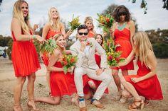 Southwestern San Clemente Wedding - Amazing bright bridesmaid dresses