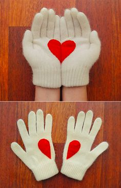 Handful of Heart Gloves DIY.  Just cut a heart out of fabric, then cut the heart in half, then sew half-heart to each glove.  Easy & Adorable. <3 #DIY