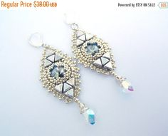 Birthday discount Bead embroidery Earring Seed bead by Vicus