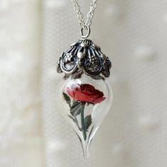 Handmade Gifts | Independent Design | Vintage Goods Red Rose Terrarium Necklace  - Jewelry - Girls