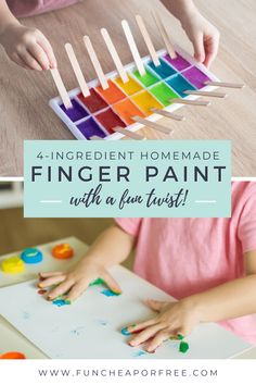 Do your kids love finger painting? Make your own homemade finger paint! It's so easy to make and you likely have all the ingredients on hand. It's the perfect activity for kids to keep them entertained! Homemade Playdough, Homemade Crafts, Diy Crafts For Kids, Fun Crafts, Edible Finger Paints, Indoor Activities For Kids, Kid Activities, 4 Ingredient Recipes, Finger Painting