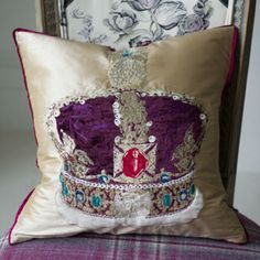 Jubilee Cushion A stunning cushion in cream silk with velvet and embroidery imperial state crown, with silk trim, and silk reverse.