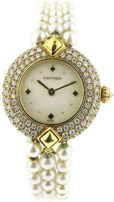 - Cartier - CARTIER Pearl Diamond Gold Bracelet Watch