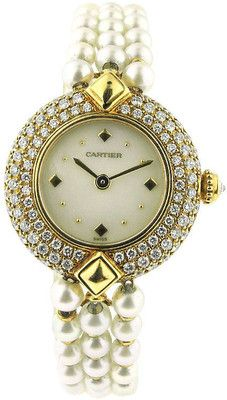 - Cartier - CARTIER Pearl Diamond Gold Bracelet Watch