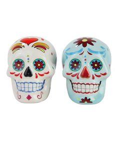 Love This Day Of The Dead Skull Salt Pepper Shaker Set Two