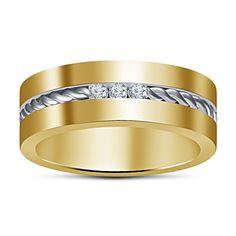 14K Yellow Gold Finish 925 Silver Round Cut Diamond Men's Special Band Ring #Affoin8 #MensWeddingRing #EngagementWedding
