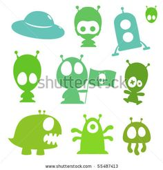 stock vector : Collection of cartoon aliens, monsters and spaceships