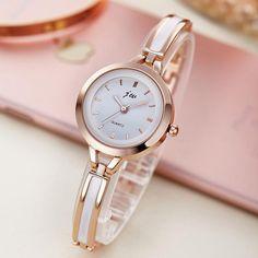 JW Ladies Simple Small Round Dial Rose Gold Skeleton Bracelet Womens Watches Luxury Top Brand Casual Quartz Wrist Watches Women