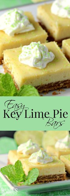 Easy Key Lime Pie Bars Renee's Kitchen Adventures - easy dessert recipe for key lime pie bars made with key lime juice, condensed milk and eggs. Key Lime Desserts, Mini Desserts, Easy Desserts, Delicious Desserts, Recipes For Desserts, Key Lime Dessert Recipes Easy, Key Lime Pie Recipe Healthy, Sugar Free Key Lime Pie Recipe, Weight Watchers Key Lime Pie Recipe