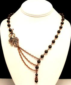 Necklace with Alluring Brown Pearls with a Leaf by byBrendaElaine