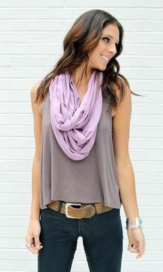 #WomensFashion:tank scarf-loving the pop of color this adds #casualattire