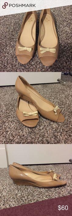 Kate Spade glossy tan wedges Never worn Kate Spade glossy tan wedges kate spade Shoes Wedges