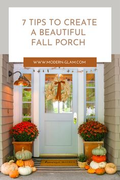 Create a beautiful fall porch this autumn with these tips and inspiring ideas. I will show you how I added real pumpkins and mums to my porch for simple fall decor! Fall Home Decor, Autumn Home, Summer Front Porches, Fall Porches, Farmhouse Fall Wreath, Winter Planter, Farmhouse Front Porches, Porch Decorating, Decorating Ideas