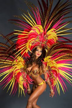 Clara Pheasant Feathers Samba Costume Couture Big Show Carnival Fashion, Carnival Girl, Carnival 2015, Trinidad Carnival, Carnival Festival, Carnival Themes, Carnival Dancers, Rio Carnival Costumes, Caribbean Carnival Costumes