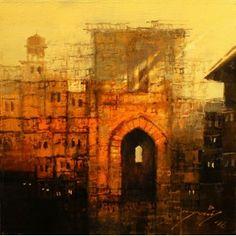 A. Q. Arif, 14 x 14 Inch, Oil on Canvas, Cityscape Painting, (EXB-13)-AC-AQ-066