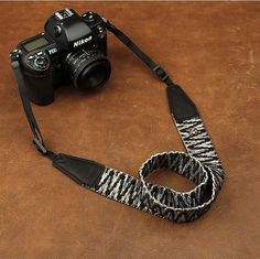 Black White Stripes Weaving Style Strap Sony Nikon Canon Handmade Leather Camera Strap 8298 Handmade with top layer cow leather and denim. It can fit almost every DSLR, SLR and some larger digital cam
