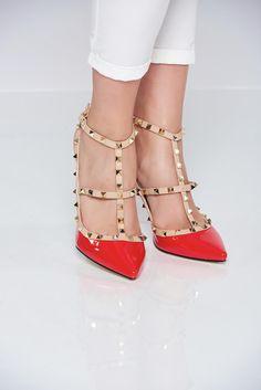 Comanda online, Pantofi cu toc inalt rosu cu tinte metalice. Articole masurate, calitate garantata! Valentino, Classy, Metal, Summer, Shoes, Collection, Fashion, Chic, Moda