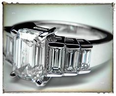 SQUEEEEEEE!!! Absolutely ADORE!!! Emerald Cut Diamond Engagement Ring Step Up Baguettes