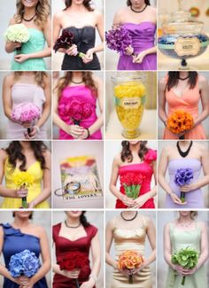 Rainbow theme for bridesmaids - with matching bouquets!