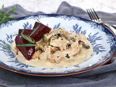Krögarpanna med kyckling och glaserade betor Lchf, Chicken Recipes, Pork, Turkey, Meat, Dinner, Kale Stir Fry, Dining, Turkey Country
