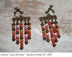 Boucles d'oreilles perles de rocailles orangées