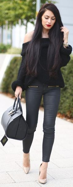 Skinny denim, off the shoulder knit and duffle bag chic