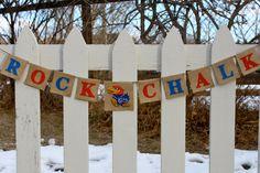 KU Banner, Kansas Jayhawks, Rock Chalk, University of Kansas, Jayhawk Banner, Burlap, Bunting, Garland