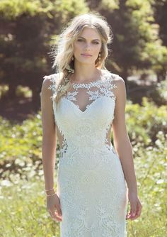 Lace wedding dress idea - low illusion side cut outs, this soft jersey lined fit and flare gown with point d'esprit underlay is as sexy as it is comfortable. Style 6485 by Find more wedding dress inspiration by on Blush Bridal, Bridal Gowns, Lillian West Wedding Gowns, Lace Wedding Dress, Wedding Dresses, Romantic Wedding Receptions, Wedding Ideas, Wedding Themes, Wedding Stuff