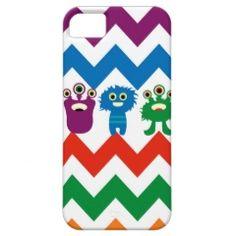 Colorful Fun Monsters Cute Chevron Striped Pattern iPhone 5 Case