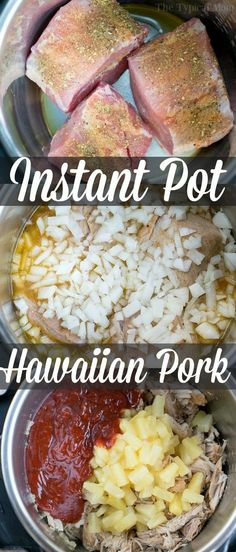 easy Instant Pot Hawaiian pulled pork recipe is amazing and perfect for any. - This easy Instant Pot Hawaiian pulled pork recipe is amazing and perfect for any.This easy Instant Pot Hawaiian pulled pork recipe is amazing and perfect for any. Pulled Pork Recipes, Beef Recipes, Cooking Recipes, Healthy Recipes, Cooking Tips, Pulled Pork Instant Pot Recipe, Recipe For Instant Pot, Pulled Pork Crockpot, Easy Pulled Pork