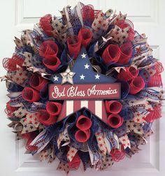 Americana Burlap Mesh Wreath,Patriotic Wreath,Memorial Day Wreath,4th of July Wreath,Labor Day Wreath,Rustic Red, White & Blue Wreath by CherylsCrafts1 on Etsy
