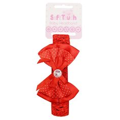 Soft Touch Babies Xmas Bow Headband Red One Size www.babywearwholesale.com