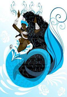 by Orádia N.C Porciúncula/ Licença Creative Commons Atribuição - Uso… Siren Mermaid, Black Mermaid, Mermaid Art, Yemaya Orisha, African Mythology, Magick Book, Sea Witch, Water Witch, Mermaid Pictures
